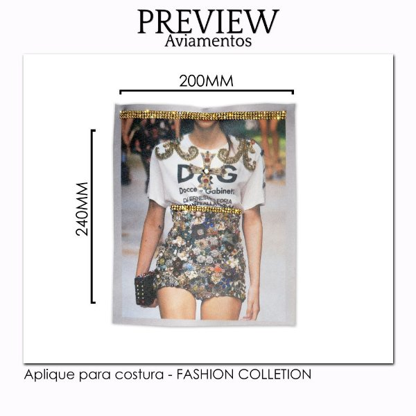 Aplique para costura FASHION COLLECTION/CUSTOMIZADO - Pct c/ 5 pc - 220x240MM - 100% Poliéster