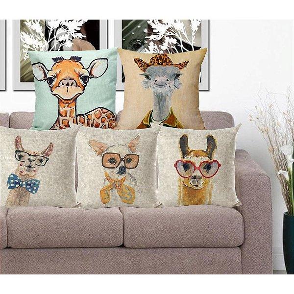 Kit 5 Capas de Almofada Algodão Linho Customizada Animais