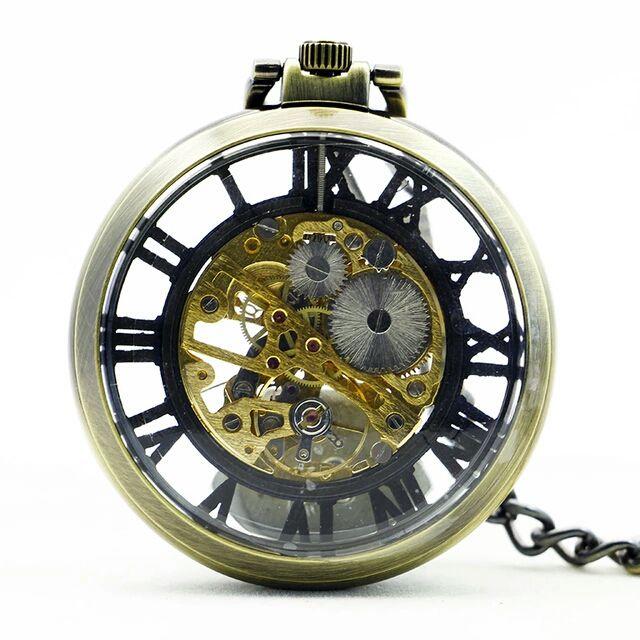 Relógio de Bolso Esqueleto Automático ys-2024