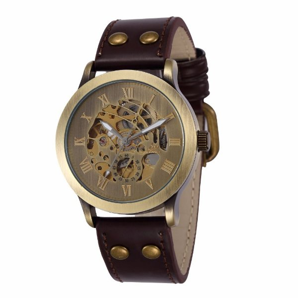 Relógio Esqueleto Shenhua Automático Sh-9564 com Pulseira Marrom