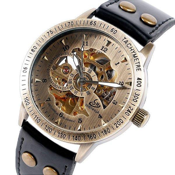 Relógio Esqueleto Shenhua Automático Sh-9566 com Pulseira Preta