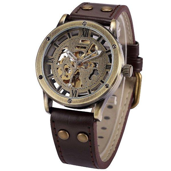 Relógio Esqueleto Shenhua Automático Sh-9397 com Pulseira Marrom
