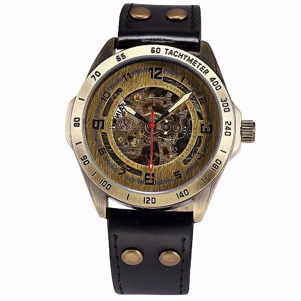 Relógio Esqueleto Shenhua Automático Sh-9889 com Pulseira Preta