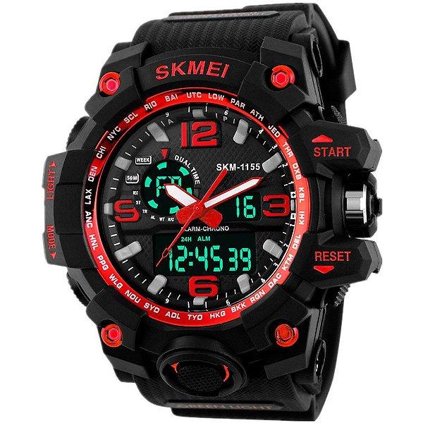 Relógio Skmei 1155 Dual Time Vermelho