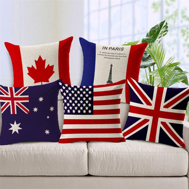 Kit 5 Capas de Almofada Algodão Linho Customizada Bandeiras