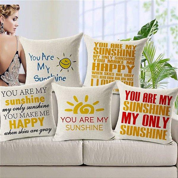 Kit 5 Capas de Almofada Algodão Linho Customizada Sunshine