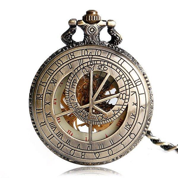 Relógio Bolso Esqueleto Automático Yisuya P2099c