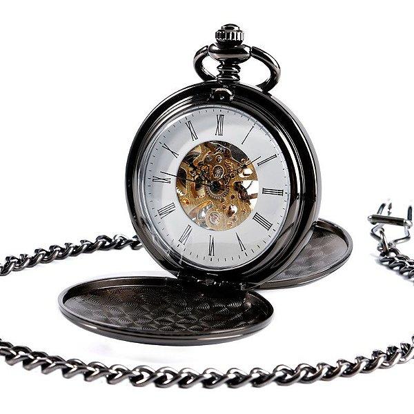 Relógio Bolso Esqueleto Automático Yisuya P2087c