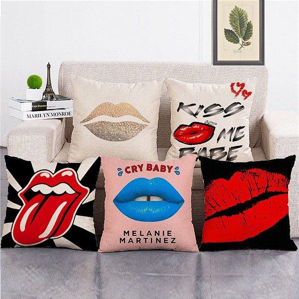 Kit 5 Capas de Almofada Algodão Linho Customizada Kiss
