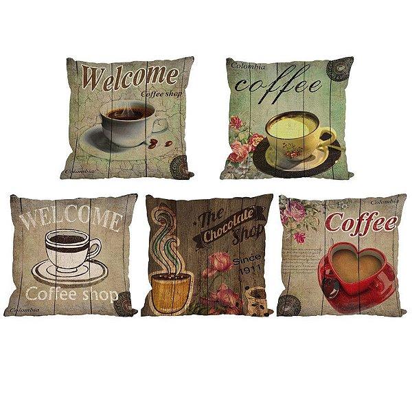 Kit 5 Capas de Almofada Algodão Linho Customizada Café