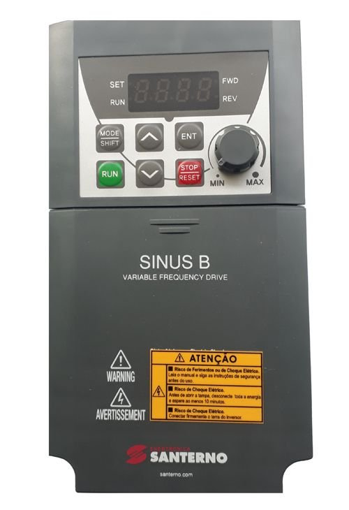 SINUS B PLUS 0002 2S XAIK2 INVERSOR DE FREQUÊNCIA 1CV 4,2A MONOFÁSICO 200-240V ZZ0131011 SANTERNO