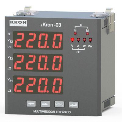IKRON 03 MULTIMEDIDOR SEM MEMÓRIA DE MASSA 96X96MM DISPLAY LED JK20022265100 KRON MEDIDORES