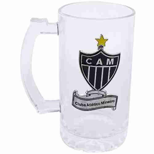 Caneca De Vidro Com Brasão De Metal 470ml - Atlético Mineiro