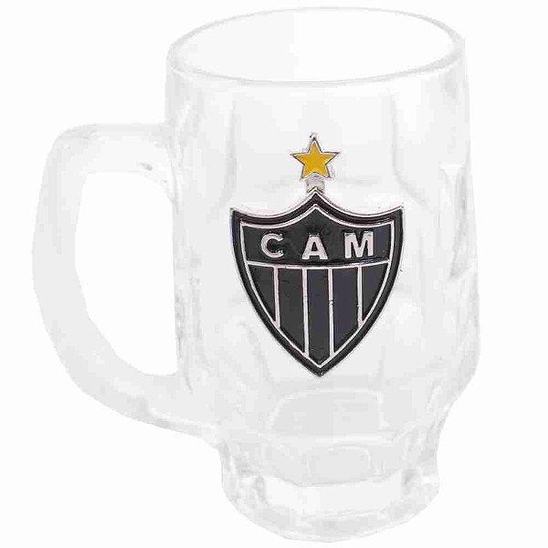 Caneca De Vidro Com Brasão De Time 330ml - Atlético Mineiro