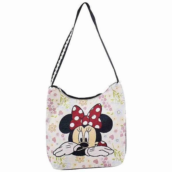 Bolsa Hobo Flores Rosto Minnie - Disney
