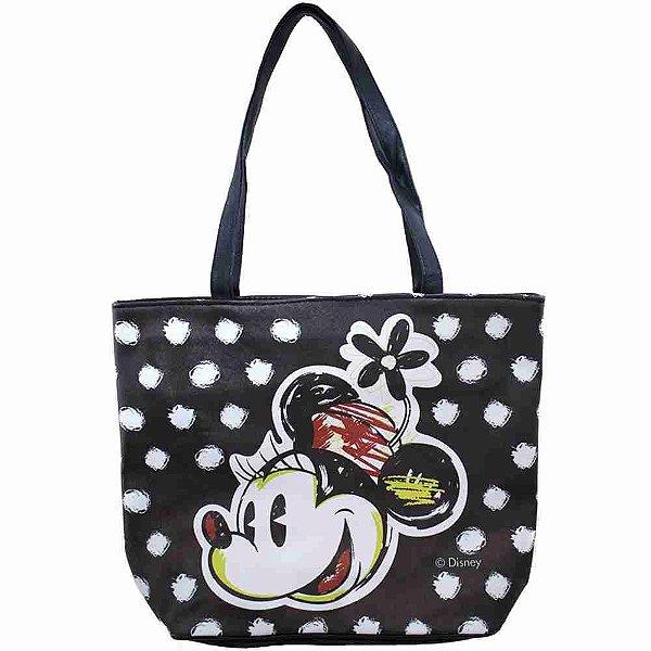Bolsa Preta Detalhes Branco Rosto Minnie - Disney