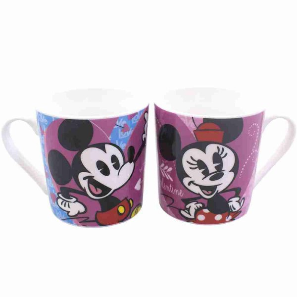Jg Com 2 Canecas Mickey & Minnie Cartoon 250ml - Disney