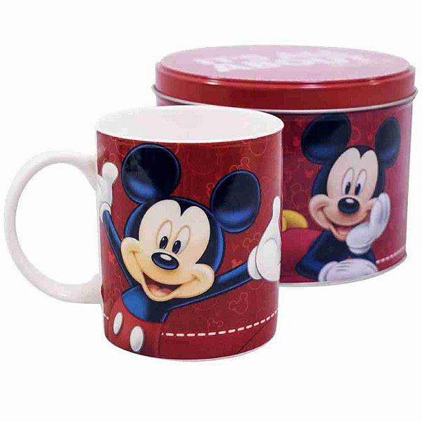 Caneca De Porcelana Na Lata Vermelha Mickey 350ml - Disney