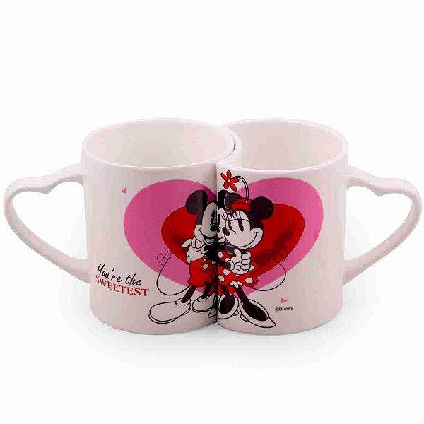 Jogo De Canecas De Porcelana Amor Mickey & Minnie (Branca) - Disney