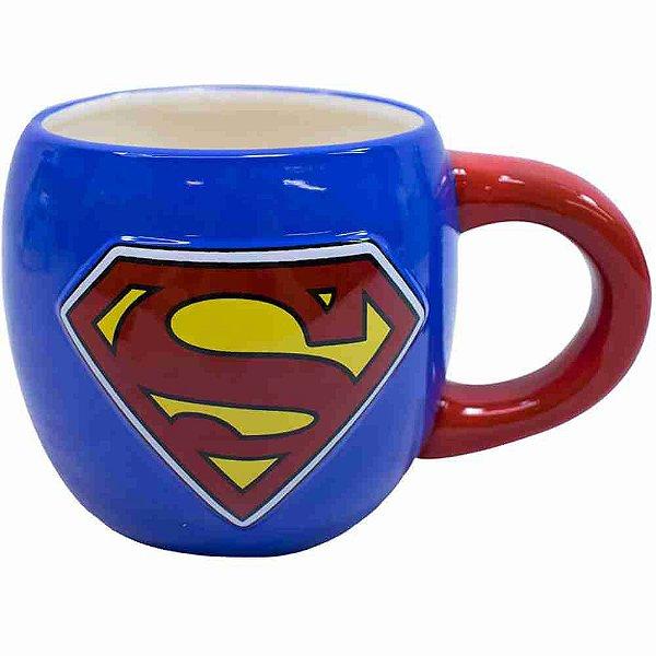 Caneca Porcelana Grande Superman 600ml - Liga Da Justiça