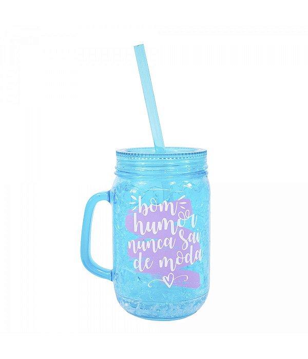 Caneca Azul Com Tampa Canudo Gel Isolante 420ml - Projeto Kiwi