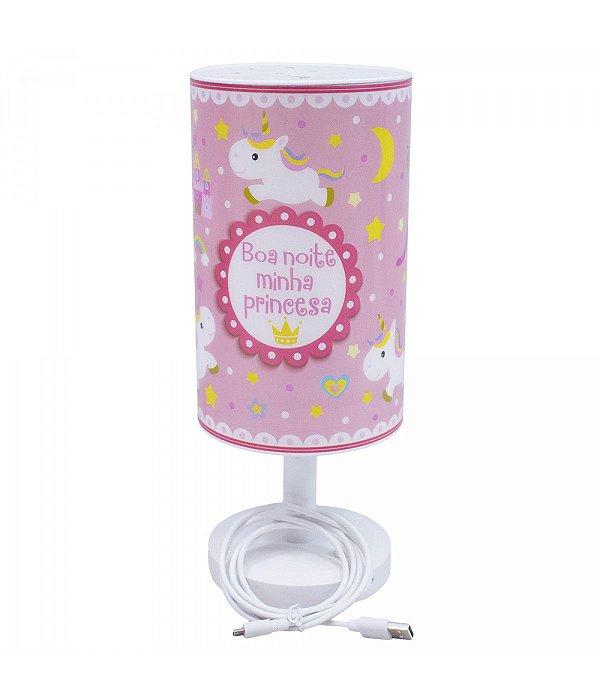 Luminária Abajur Rosa Unicórnio Boa Noite Princesa - Projeto Kiwi