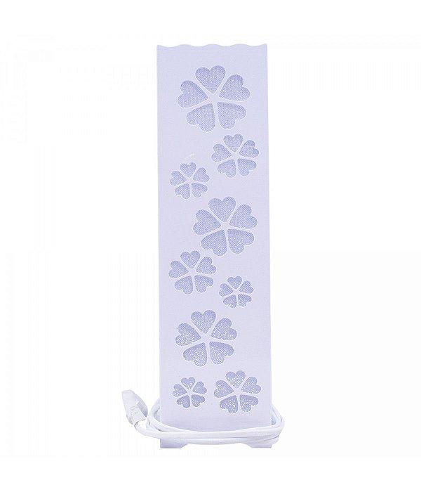 Luminária Torre Flores Coração Branco 33cm