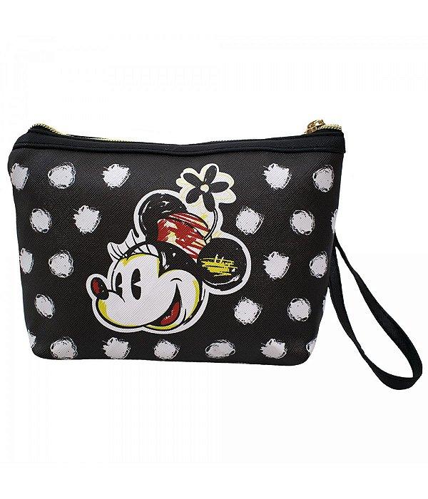 Necessaire Preto Detalhes Branco Rosto Minnie - Disney