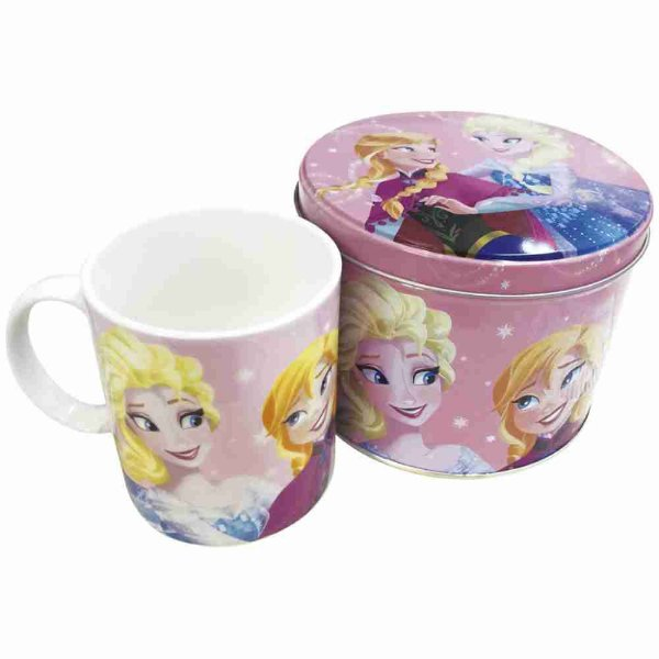 Caneca De Porcelana Rosa Na Lata Anna & Elsa Frozen 350ml - Disney