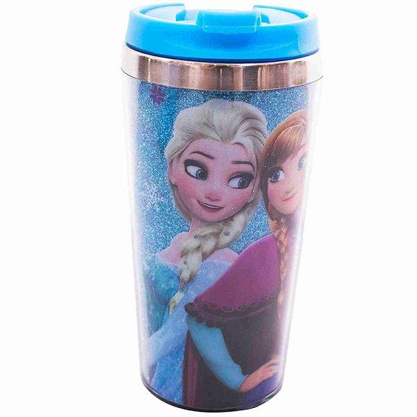 Copo Térmico Azul Com Tampa Anna Elsa & Olaf Frozen 450ml - Disney