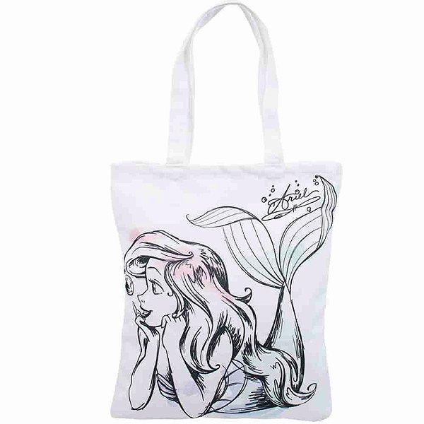Bolsa Branca Sereia Ariel 40X34cm - Disney