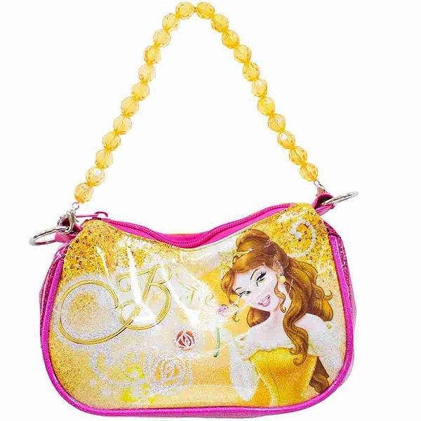 Bolsa Amarela Princesa Bela Com Alça De Miçanga - Disney