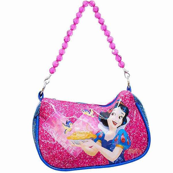 Bolsa Azul Princesa Branca De Neve Com Alça De Miçanga - Disney
