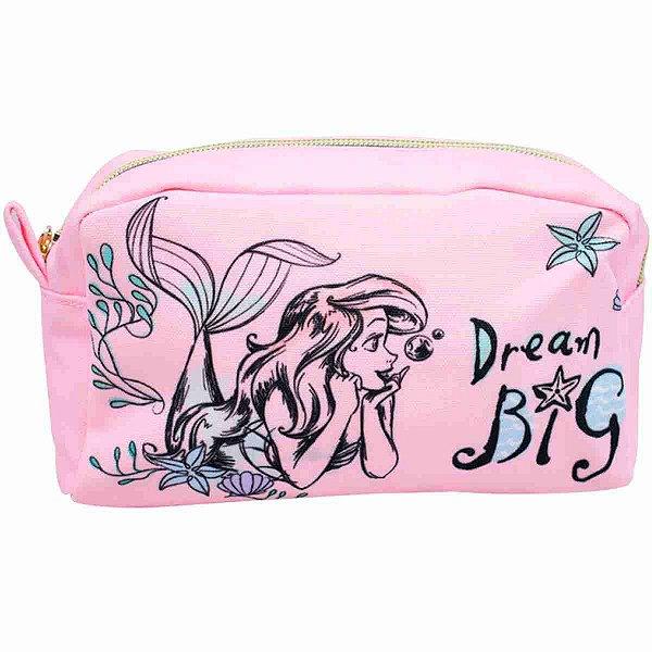 Necessaire Estojo Rosa Sereia Ariel 22X10X10cm - Disney