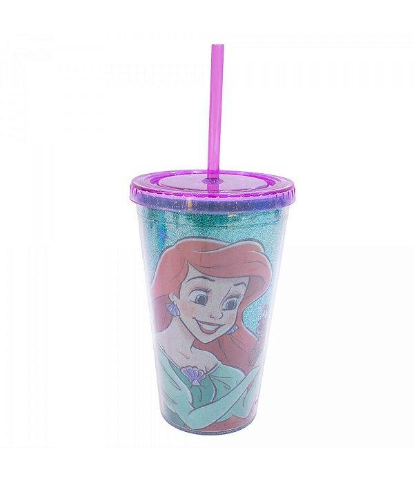 Copo Com Canudo Princesa Ariel 450ml - Disney