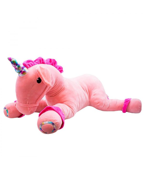 Unicórnio Pink Deitado Chifre Colorido 80cm - Pelúcia