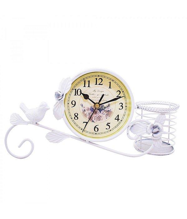 Relógio Branco Pássaro Porta Objeto 30cm