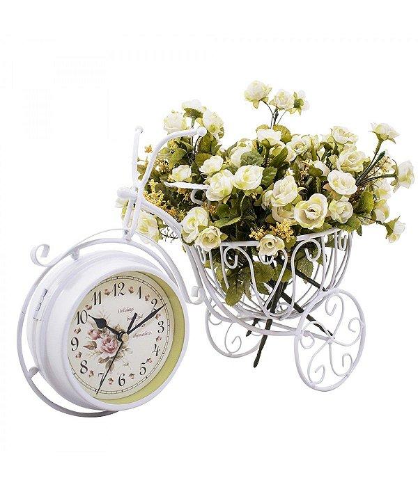 Relógio Bicicleta Branco Porta Objeto 33cm