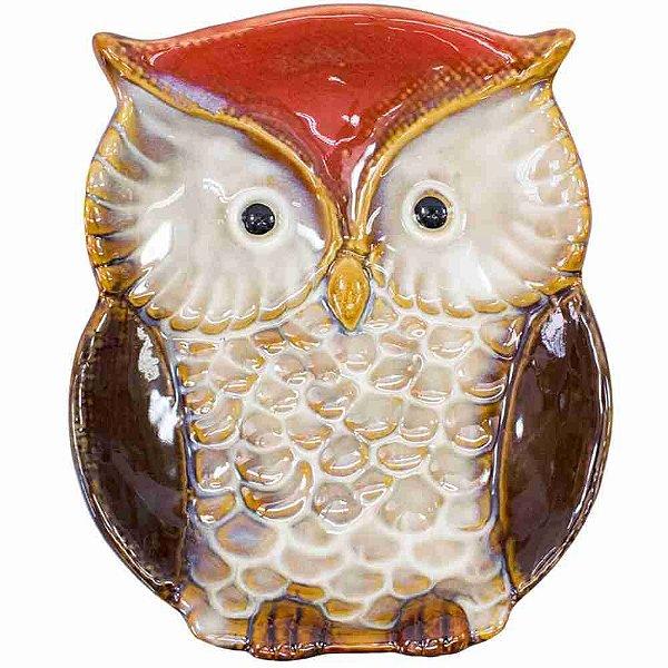 Bandeja Porcelana Coruja Vermelho 18x3.5x15cm