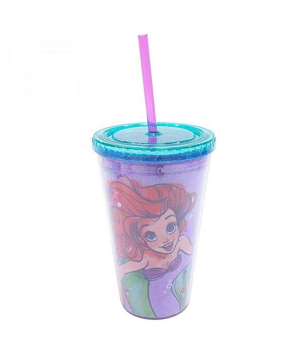 Copo Canudo Sereia Ariel 450ml - Disney