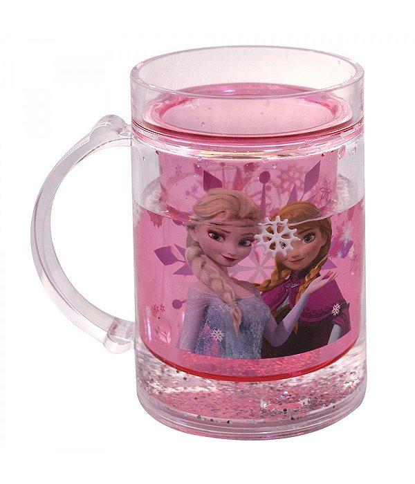 Caneca Rosa Líquido Anna & Elsa Frozen 250ml - Disney