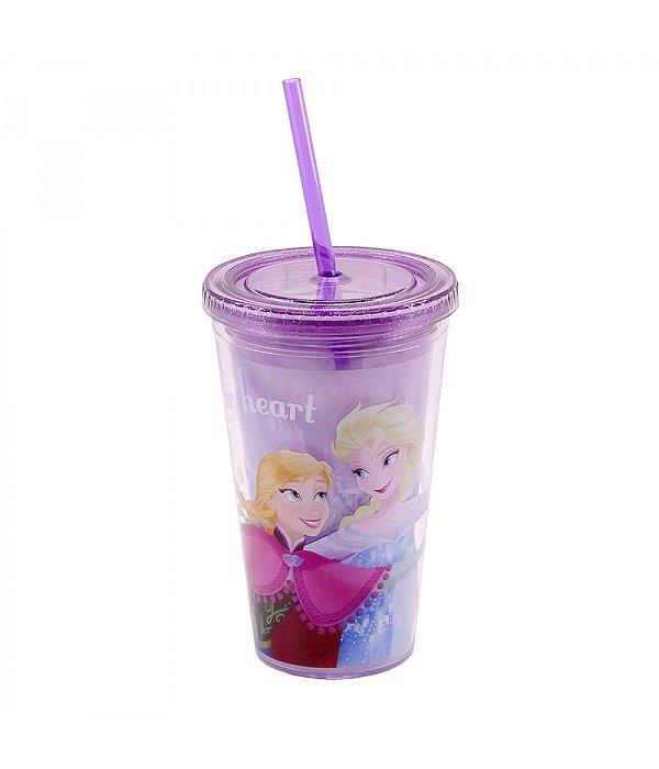 Copo Com Canudo Anna & Elsa 450ml Frozen - Disney