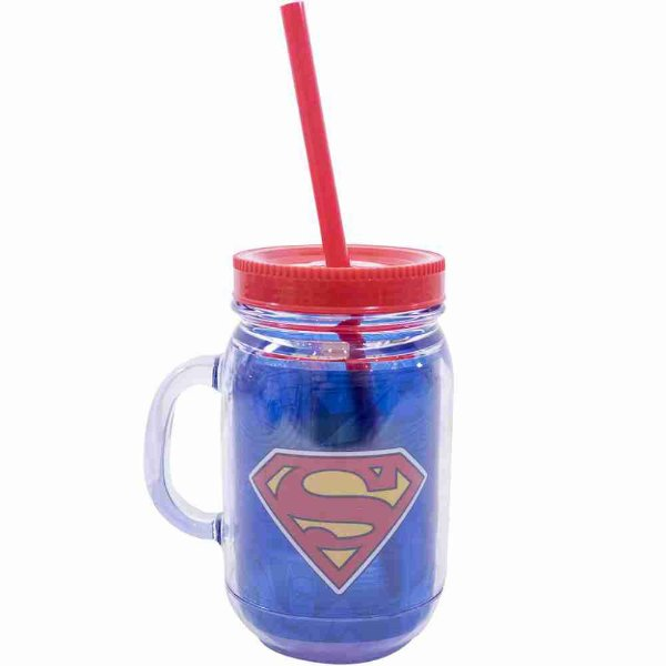 Caneca De Plástico Com Canudo Super Homem 420ml - Liga Da Justiça