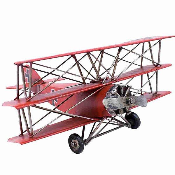 Avião Vermelho De Hélice 25cm Retrô - Vintage