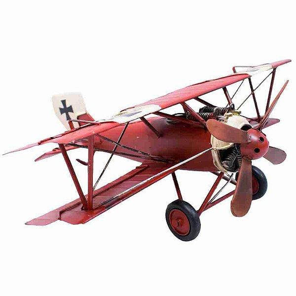 Avião Vermelho De Hélice 28cm Retrô - Vintage
