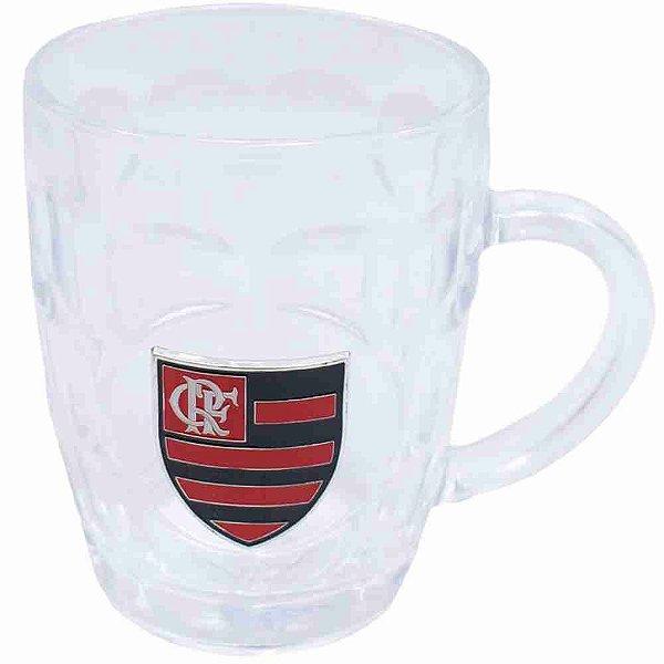 Caneca Vidro Brasão Metal 400ml - Flamengo