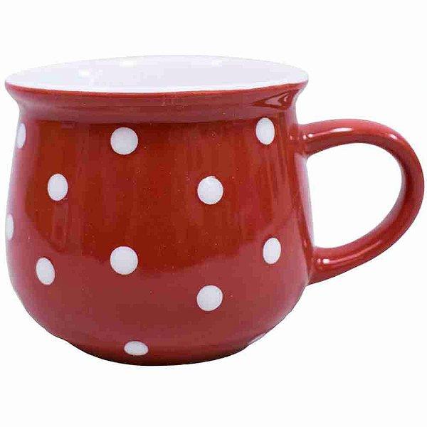 Caneca Porcelana Vermelha Bolinhas Brancas 250ml
