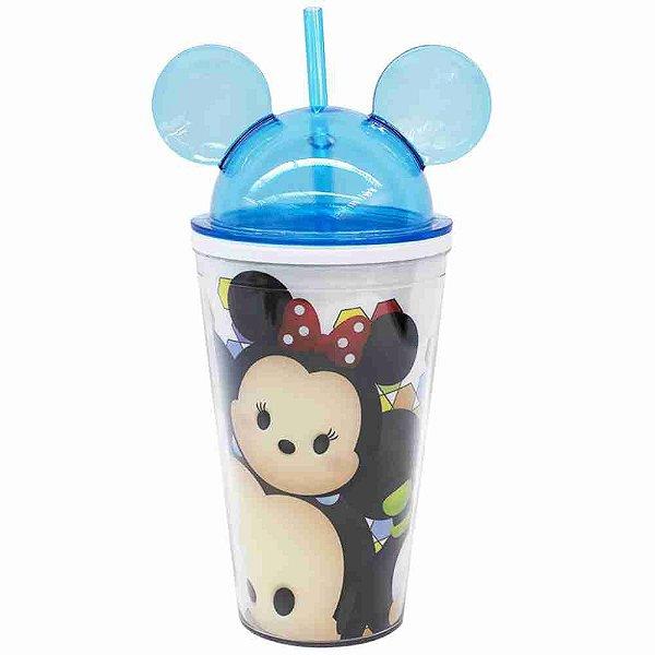 Copo Azul Com Canudo E Orelhas Mickey & Minnie Tsum Tsum 450ml - Disney