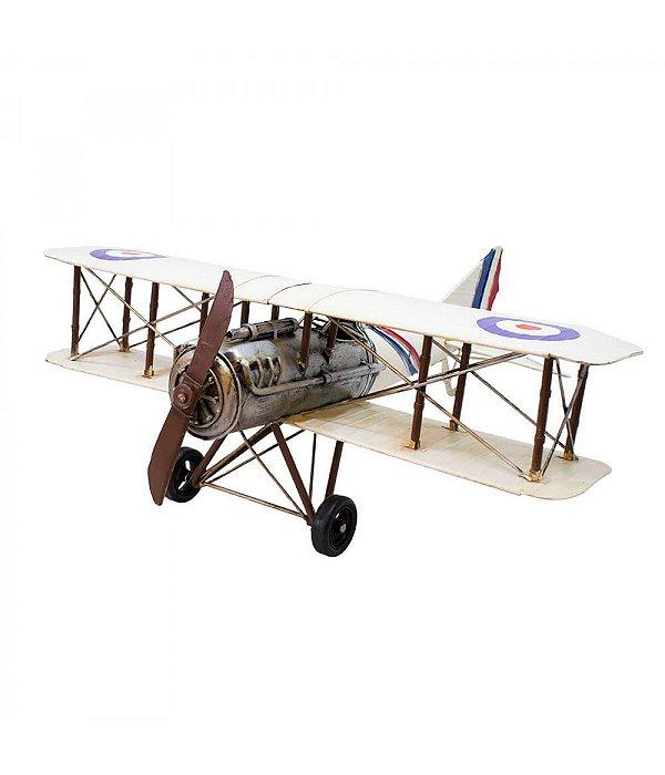 Avião Branco De Hélice 21x57x60cm Estilo Retrô - Vintage