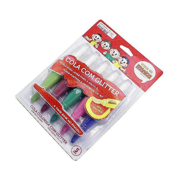 Jogo De Colas Coloridas Com Glitter 5 Cores - Turma Da Mônica